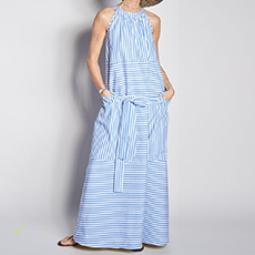 Long dress with white and blue stripes