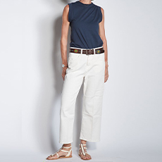 Wide cut ivory jeans
