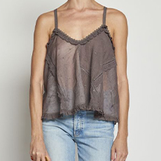 Embroidered smoke top with cross on the back