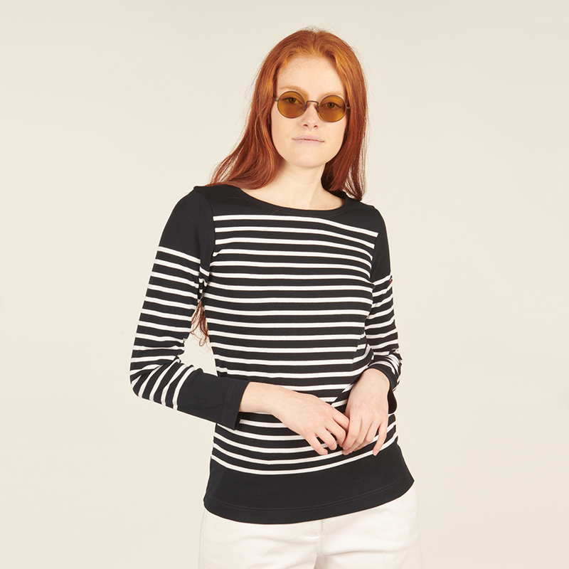Black and white Amiral longsleeves striped t-shirt