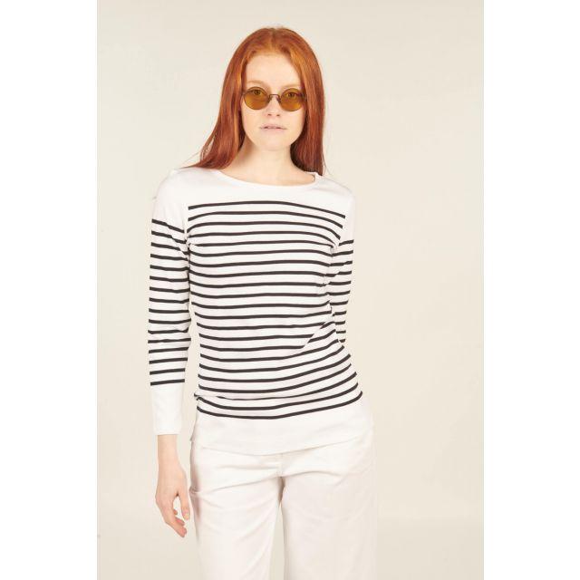 T-shirt Amiral a righe nere e bianche in cotone con maniche lunghe