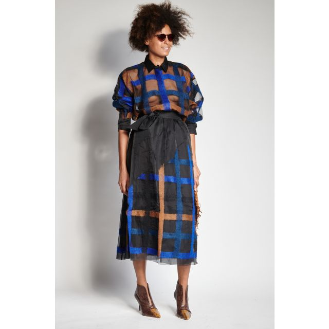 Black skirt with blue and camel embroidery