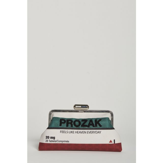 prozak embroidered canvas clutch