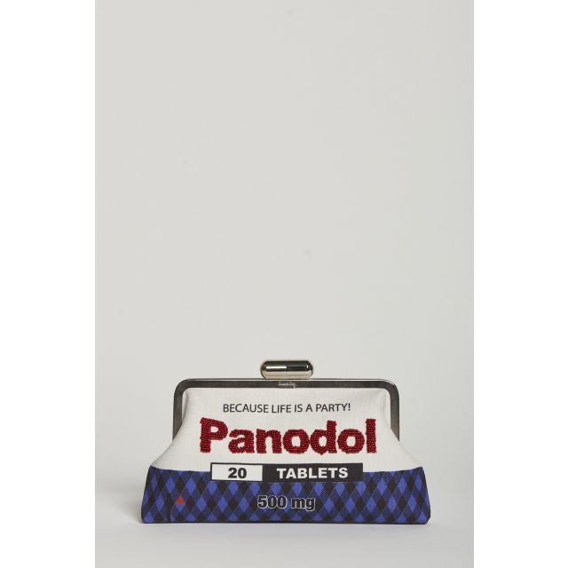 panodol embroidered canvas clutch