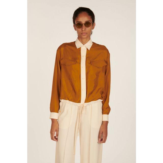 Two-tone silk shirt