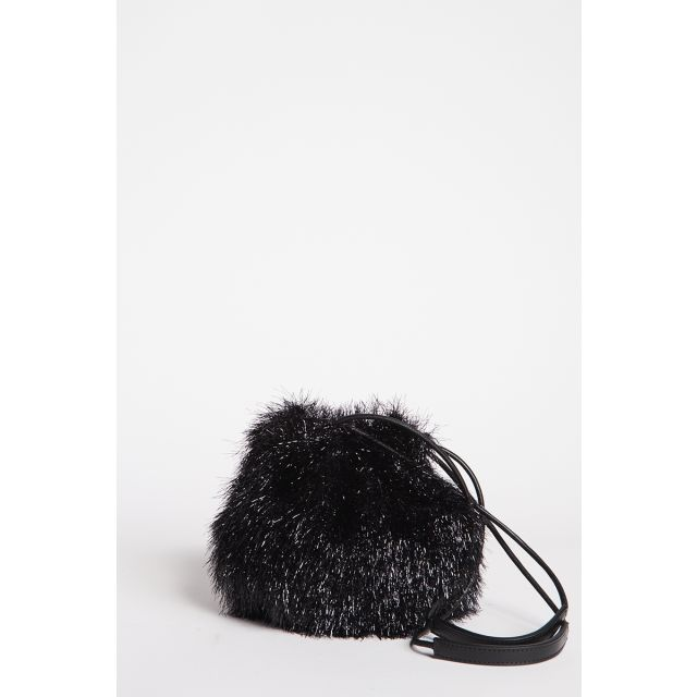 Small black lurex bucket bag