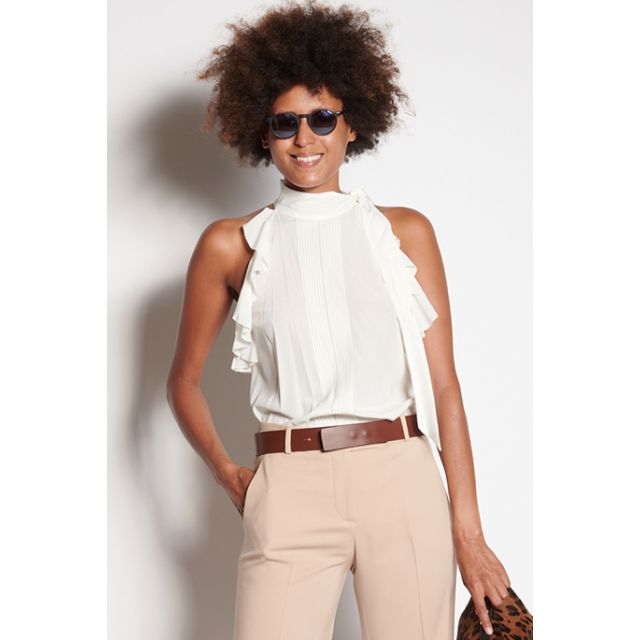White silk top with pleats and ruffles