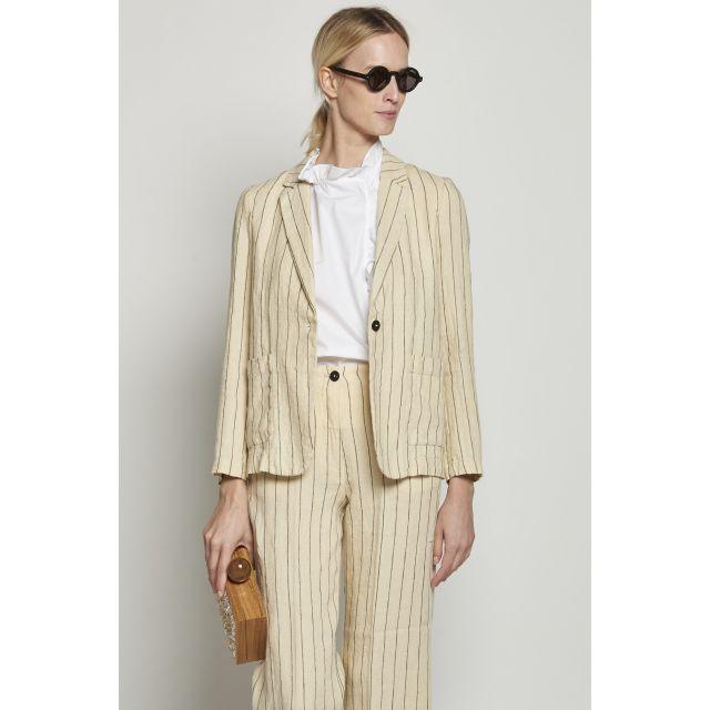 Beige pinstripe linen jacket