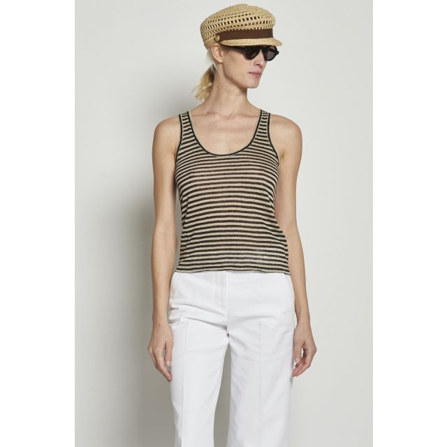 Black and beige striped top
