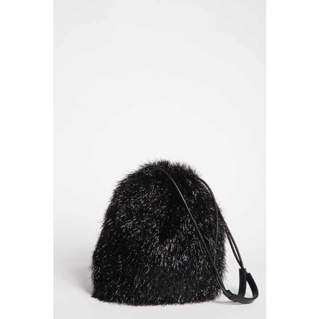 Black lurex bucket bag