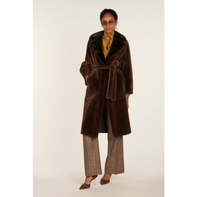 Blancha brown coat with mink inserts