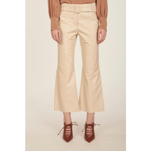 Ivory leather trousers with belt