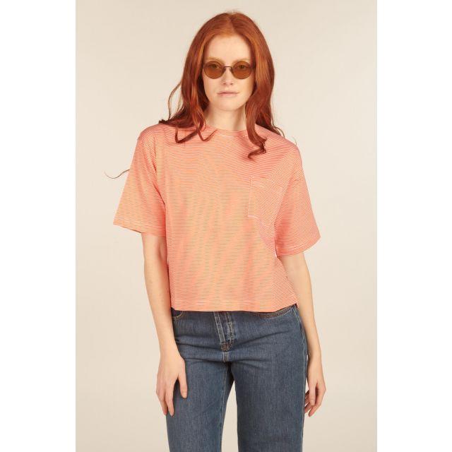 T-Shirt Boxy arancione a righe