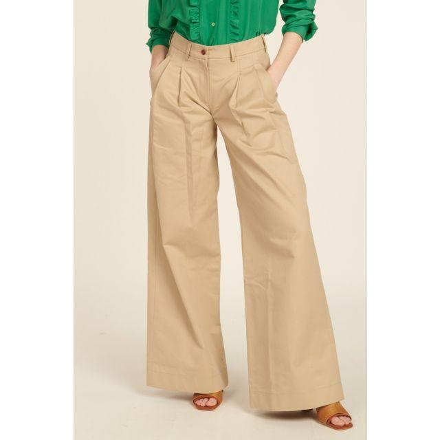 Pantaloni beige di cotone con pinces