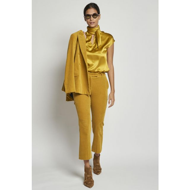 yellow ribbed trousers