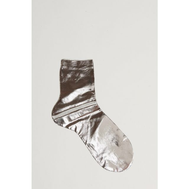 silver metallic effect sock