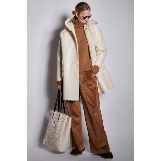 Cappotto bianco reversibile con cappuccio