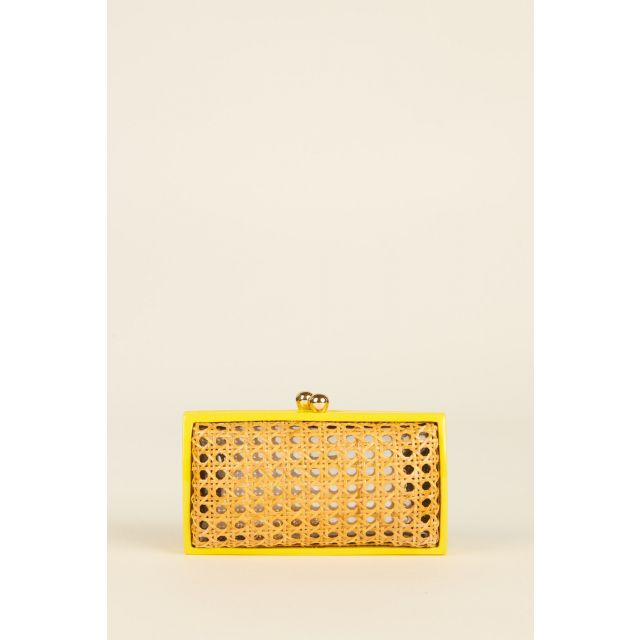 Farah clutch with fluo yellow edges