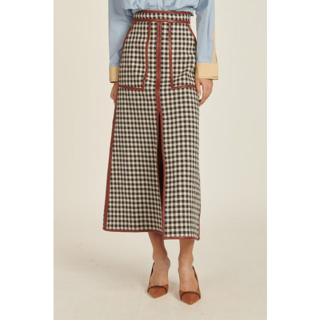 reversible houndstooth skirt