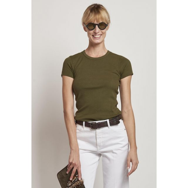 green cotton t-shirt with short sleeves