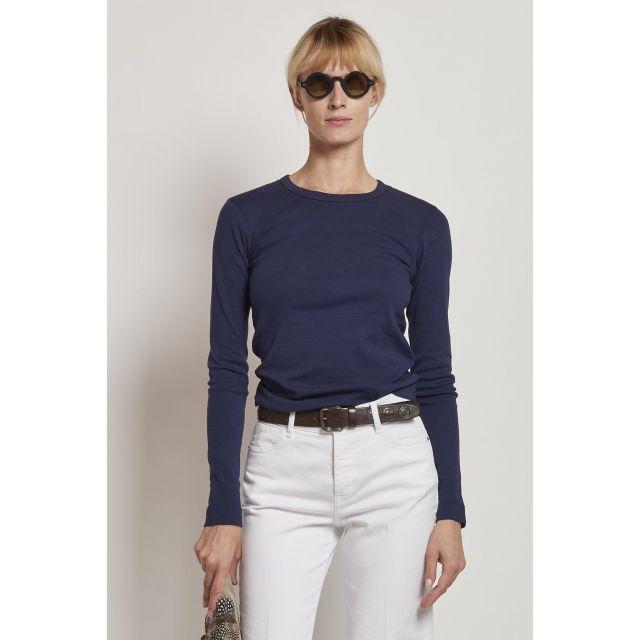 maglia blu in cotone maniche lunghe