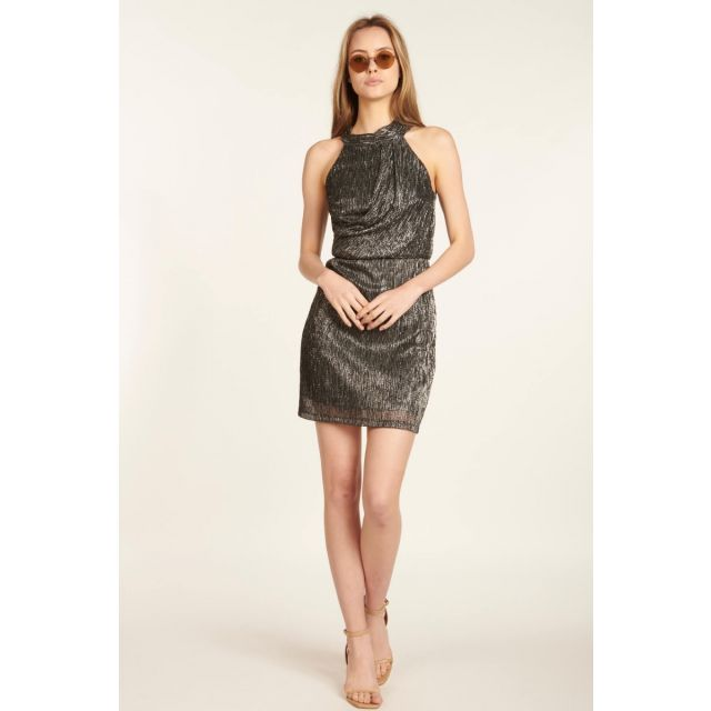 Metallic weave short dress