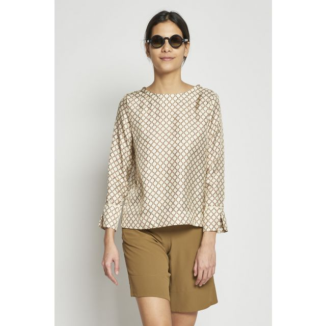 geometrical print silk top