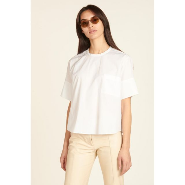 Camicia maniche corte in cotone bianca