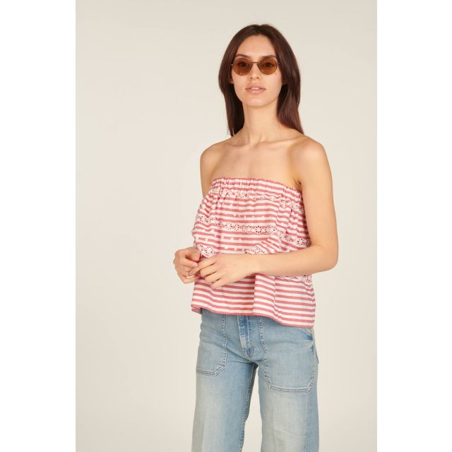 White and red striped top