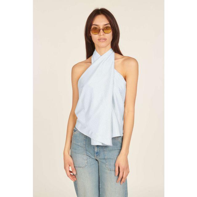 Printed asymmetrical sleeveless top
