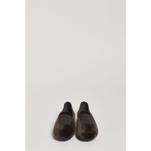 brown velvet loafer with elastic