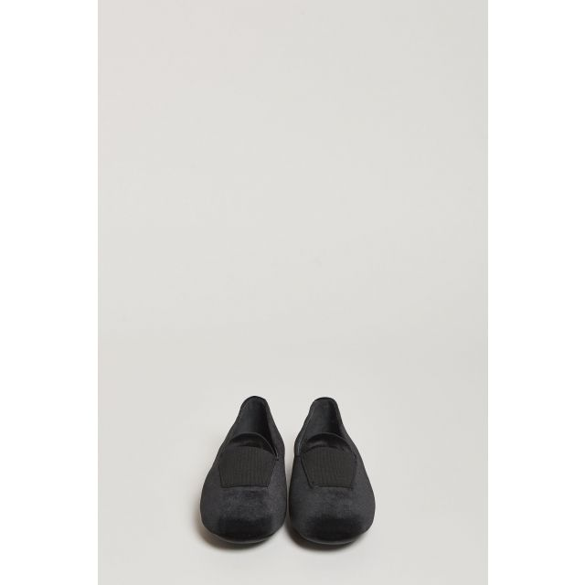 black velvet loafer with elastic