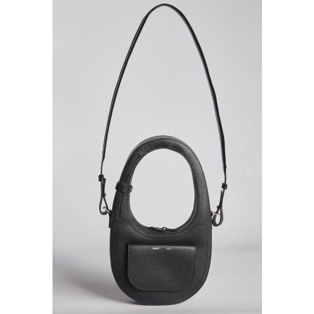 Oval shoulder bag with front pocket