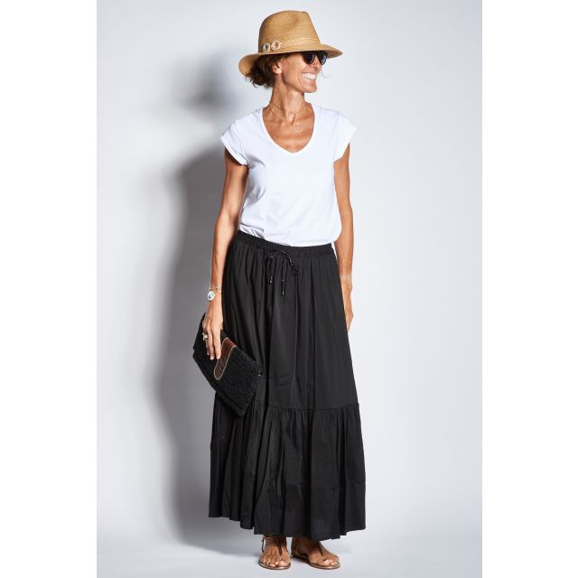 Black cotton skirt with elastic