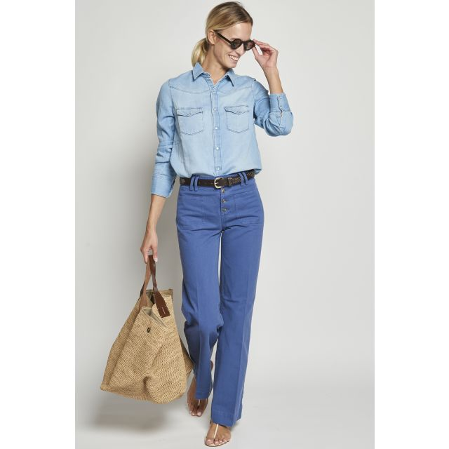 Blue cotton trousers with buttons