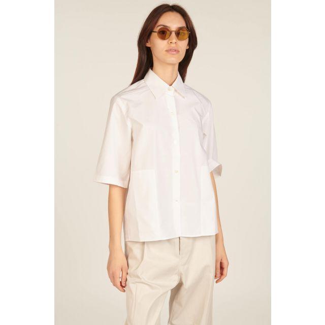 Camicia bianca a maniche corte