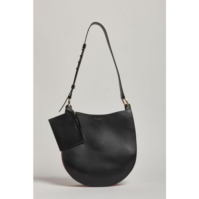 black leather bag with colored bellows detail