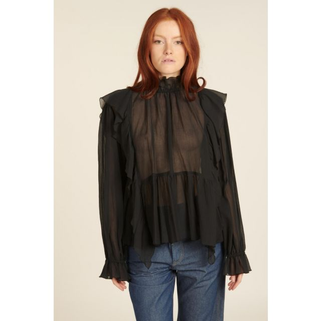 Silk shirt with ruffled collar