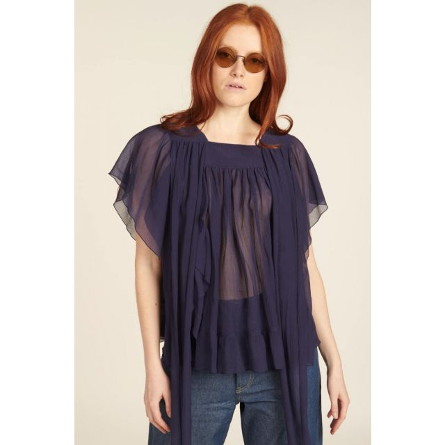 Silk shirt with ruches