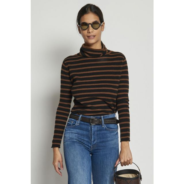 black turtleneck sweater with brown stripes