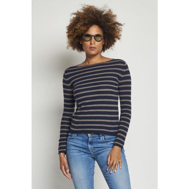 blue crew-neck cashmere sweater