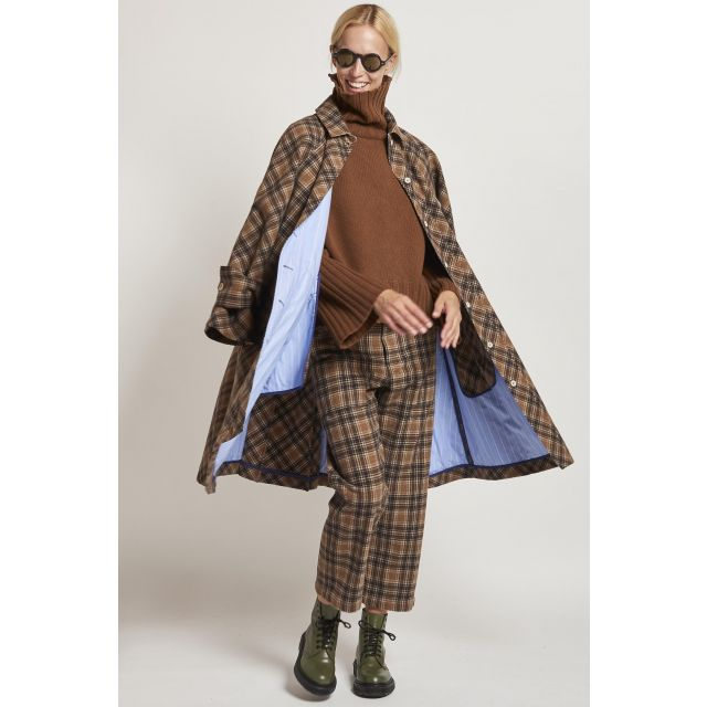 jejia brown checked coat