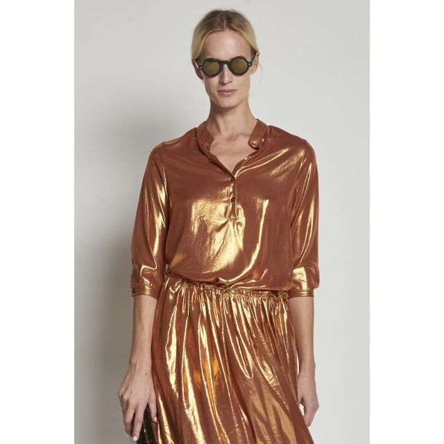 bronze laminated polo shirt