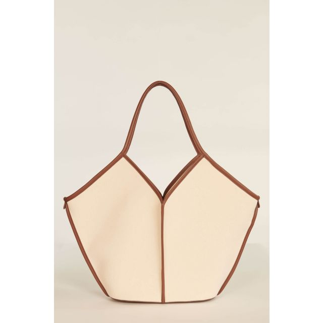 Ivory and brown Calella bag