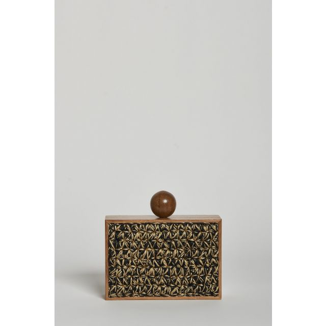 Wooden Clutch and raffia