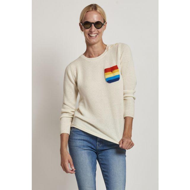 maglia in cachemire con taschino a righe colorate
