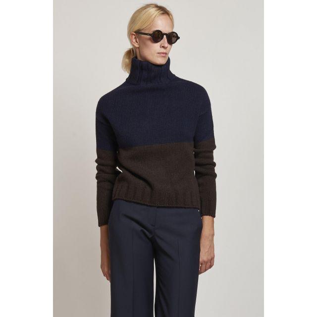 blue and ebony turtleneck sweater