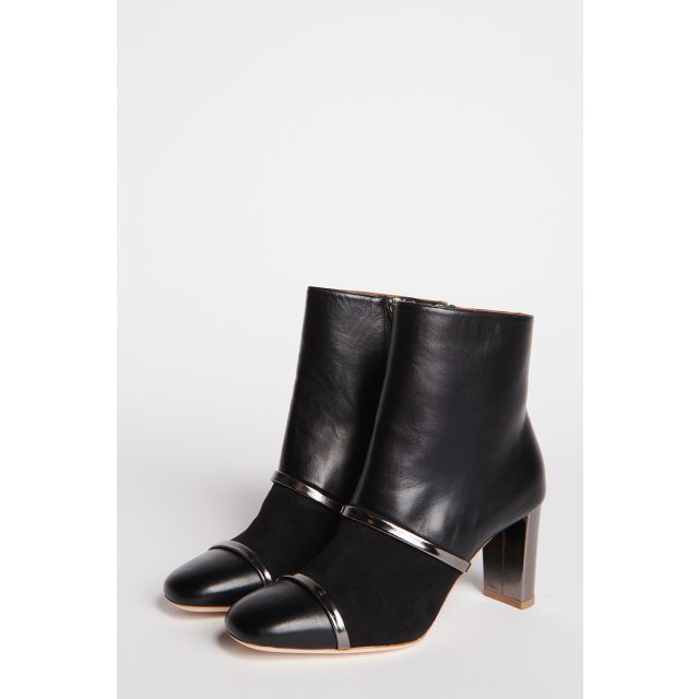 Ankle boot in black leather and suede