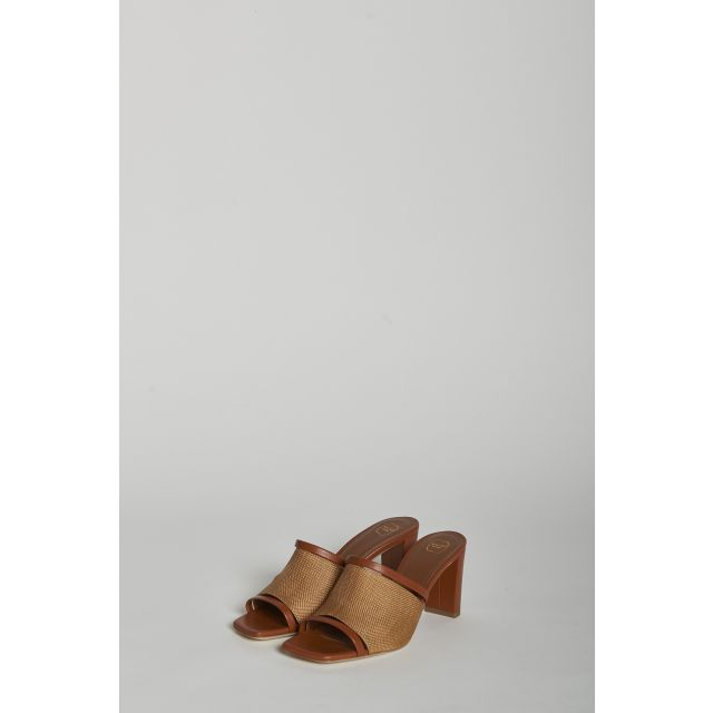 Raffia sandals with wide heels
