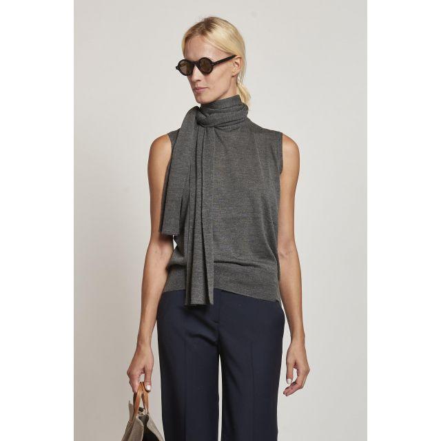 milaura knit 2 dolcevita senza maniche grigio con sciarpa